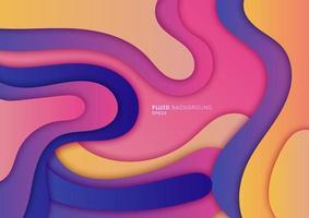 Forma dinámica de gradiente fluido 3d abstracto con sombra, elemento de onda líquida de color vibrante fondo de diseño mínimo. vector