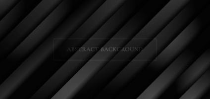 rayas diagonales negras 3d abstractas. capa de papel superpuesto patrón de fondo y textura con espacio para su texto. vector