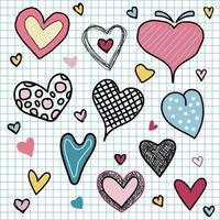 Set of valentine's day hearts love doodles hand draw on grid background vector