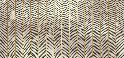 Abstract hand drawn golden lines art pattern on gold background luxury style. vector