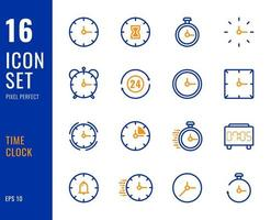 conjunto de reloj de tiempo de 16 iconos, estilo de línea fina. vector