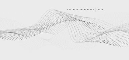 patrón de línea de onda punteada negro abstracto sobre fondo blanco. vector