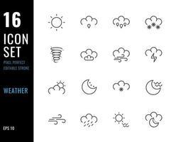 conjunto de 16 iconos meteorológicos, estilo de línea fina vector