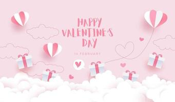 feliz día de san valentín, tarjeta de invitación con bonitas cajas de regalo