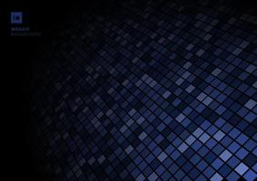 Blue mosaic pixel pattern, fade out on black background texture. vector