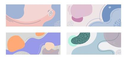 Set of web banner templates. Organic shape with line creative backgrounds in minimal trendy style. vector
