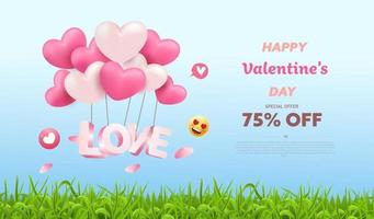 Valentine's Day Sale nature background vector