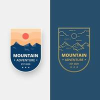 Set of landscape badge design. Mountain adventure design emblem in flat design. vector