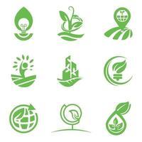 plantilla de diseño de logotipo ecológico para empresas y conjuntos de empresas vector