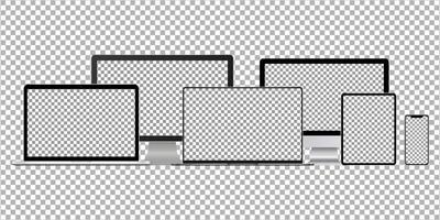 Set of realistic desktop computer, laptop computer, tablet, smartphone. Mockup vector isolated on transparent background. Template design. Vector illustration.