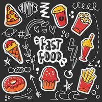 dibujado a mano colorido doodle de comida rápida vector