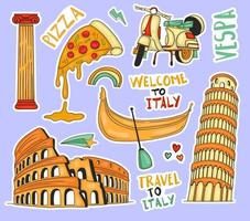 Colorful Hand drawn italy element stickers collection vector