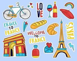 colección colorida de pegatinas de elementos de francia dibujados a mano vector