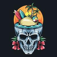 El cráneo de verano contiene una tabla de surf, un cocotero y un vector de ilustraciones de bolas