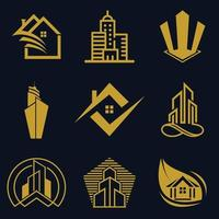 Real Estate Logo vector Icon Design For Business And Company Set