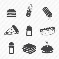 Fast food icons set isolated on background