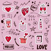 colorful hand drawn valentine element vector