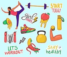 Colorful Hand drawn workout stickers collection vector