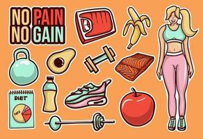 colección colorida de pegatinas dietéticas dibujadas a mano vector