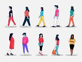 colorful hand drawn walking people collection vector
