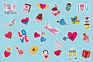 colorida colección de pegatinas de san valentín dibujadas a mano vector