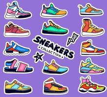 colección de pegatinas de zapatillas coloridas dibujadas a mano vector