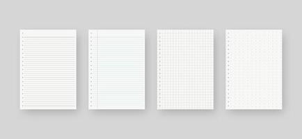 Notebook paper set. Sheet of lined paper template. Mockup isolated. Template design. Realistic vector illustration.