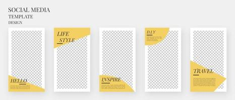 Social media template. Set of editable template for social media stories. Mockup isolated. Template design. Vector illustration.
