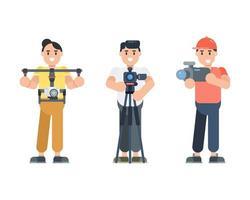 conjunto de personajes de joven sosteniendo la cámara. fotógrafo, director de fotografía, personajes de vlogger en estilo plano. ilustración vectorial. vector