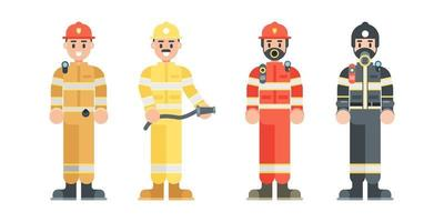 conjunto de personajes de bombero. bombero con uniforme y casco de estilo plano. ilustración vectorial. vector