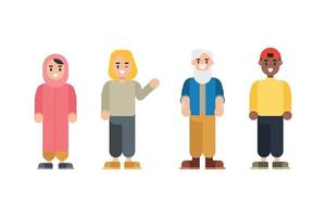 Set of Teenager characters. Cartoon man and woman characters in flat style. Vector illustration.