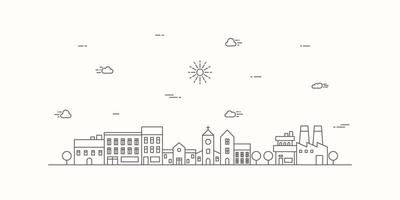 Suburban landscape with a thin line style. Cityscape flat line design. Vector illustration.