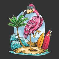 summer flamingos on the beach with coconut trees and surf boards vector
