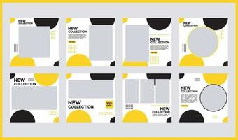A collection of editable minimal square banner templates for social media content. White, black, and yellow background colors. Suitable for social media posts and website internet advertising vector