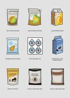 conjunto de envases flexibles y en bolsa de iconos planos
