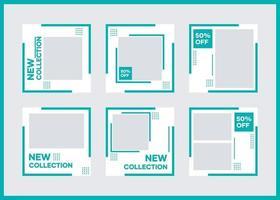 paquete de plantillas de banner de redes sociales. con verde sobre fondo blanco. adecuado para publicaciones en redes sociales y publicidad en Internet en sitios web vector