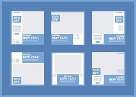 paquete de plantillas de banner de redes sociales editables. en azul y blanco. adecuado para publicaciones en redes sociales y publicidad en Internet en sitios web vector