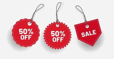 Label discount red with various shape Vector