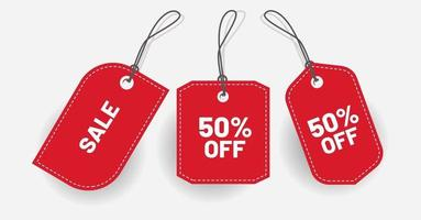 Price tag red discount with various shape Vector