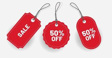 Label red discount with various shape Vector