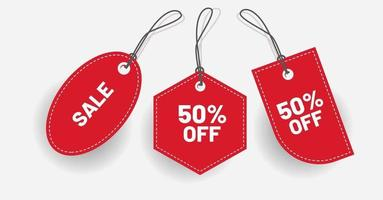 Red discount price tag with various shape Vector