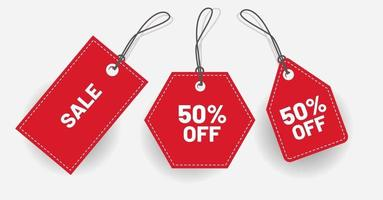 Discount red label with various shape Vector