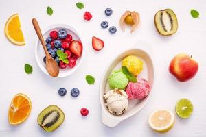 Top view of ice cream and fruit