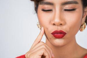 Close-up of fashionable woman with red lips photo
