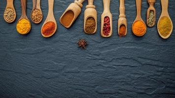 Various spices and herbs in wooden spoons with copy space