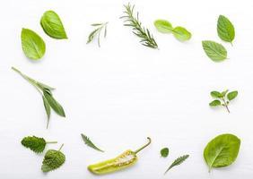varios marcos de hierbas frescas foto