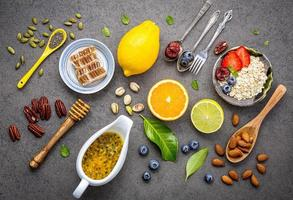 Healthy foods flat lay photo