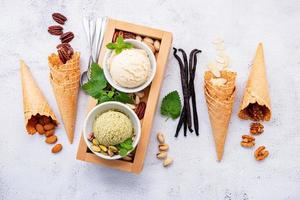 Pistachio and vanilla ice cream
