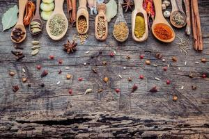 Spices in scoops on a wooden background