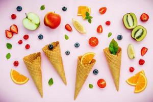 Fruit and ice cream cones